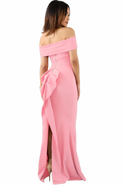 Her Fashion Rosy Off Shoulder Slinky Long Trendy Flare Party Dress