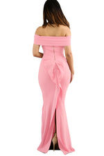 Her Fashion Pink Off Shoulder Slinky Long Trendy Flare Party Dress