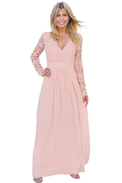 Her Fashion Pink Stunning Open Back V-neckline Crochet Maxi Party Dress