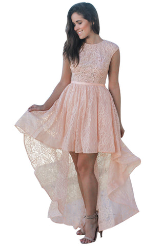 Her Fashion Pink Sweetheart Cutout Back Lace Party Hi-low Dress