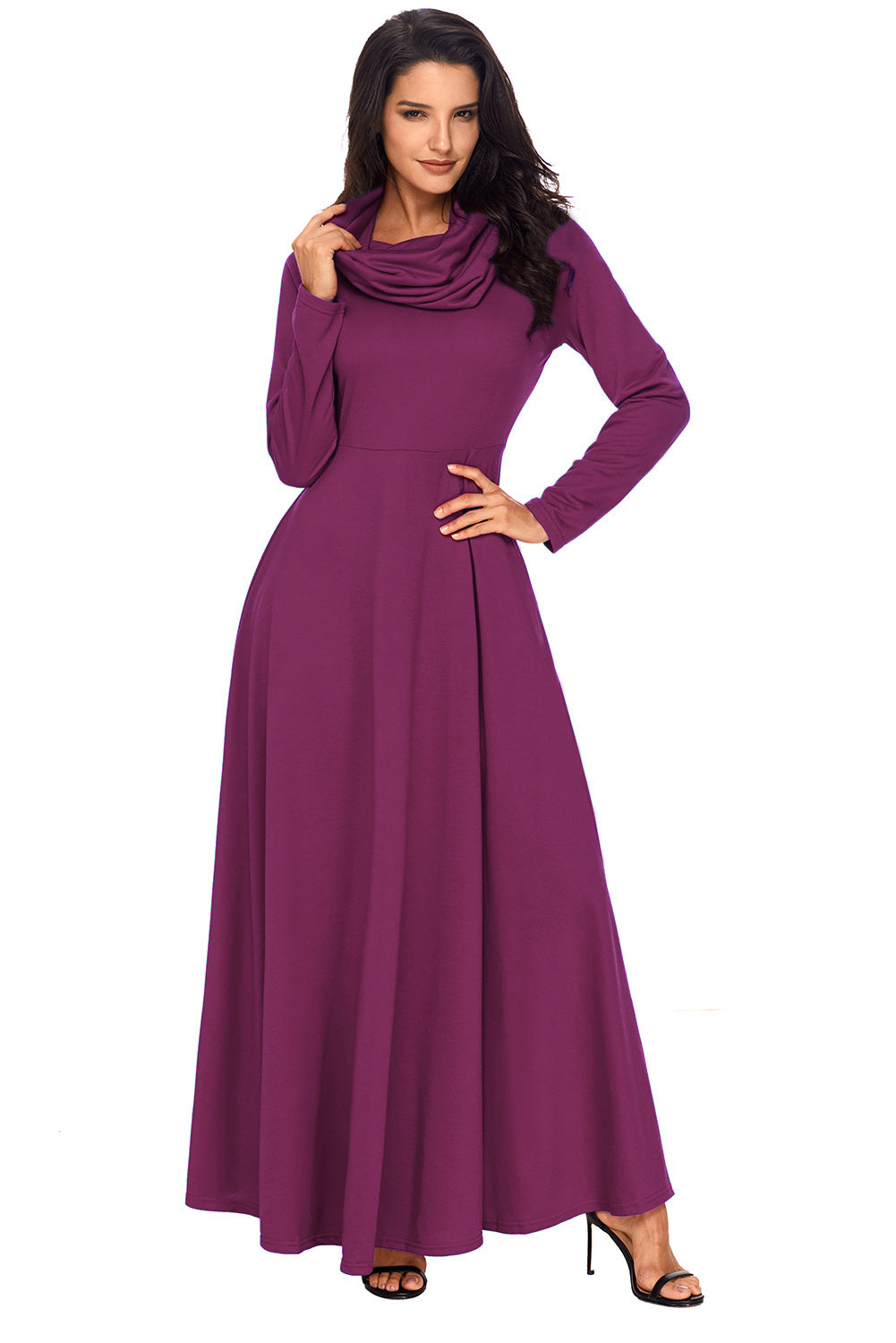 Her Fashion Purple Turtleneck Neck Long Sleeve Trendy Maxi Dress