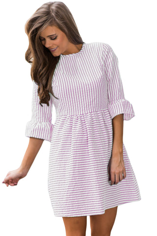 Her Fashion Purple White Stripe Flounce Sleeve Seersucker Dress