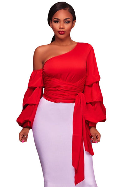Her Fashion Red Asymmetrical Shoulder Ruffle Sleeve Trendy Top