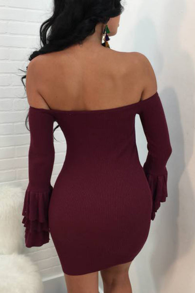 Her Fashion Brown Off The Shoulder Ruffled Sleeve Ribbed Mini Dress