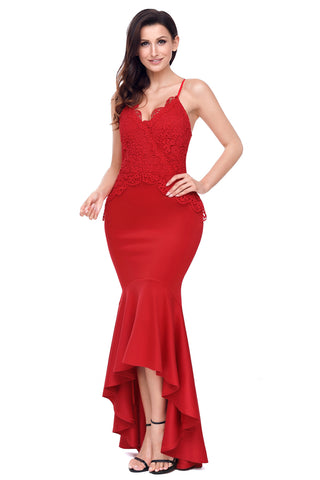 Her Fashion Red Crisscross Spaghetti Straps Hi-low Mermaid Dress