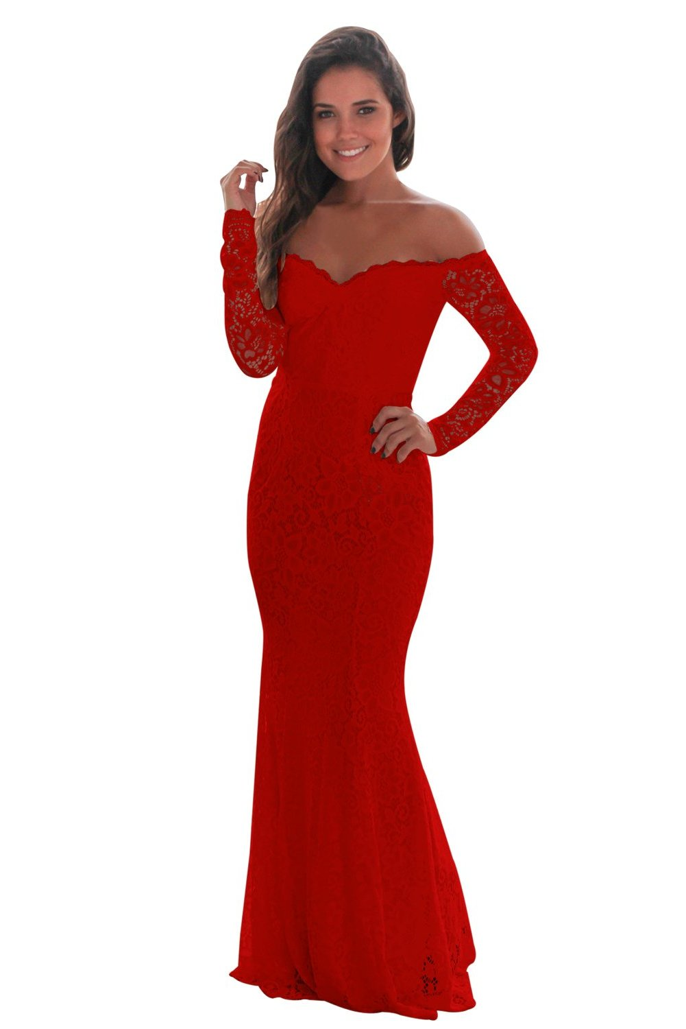 Her Fashion Red Crochet Off Shoulder Maxi Evening Party Dress