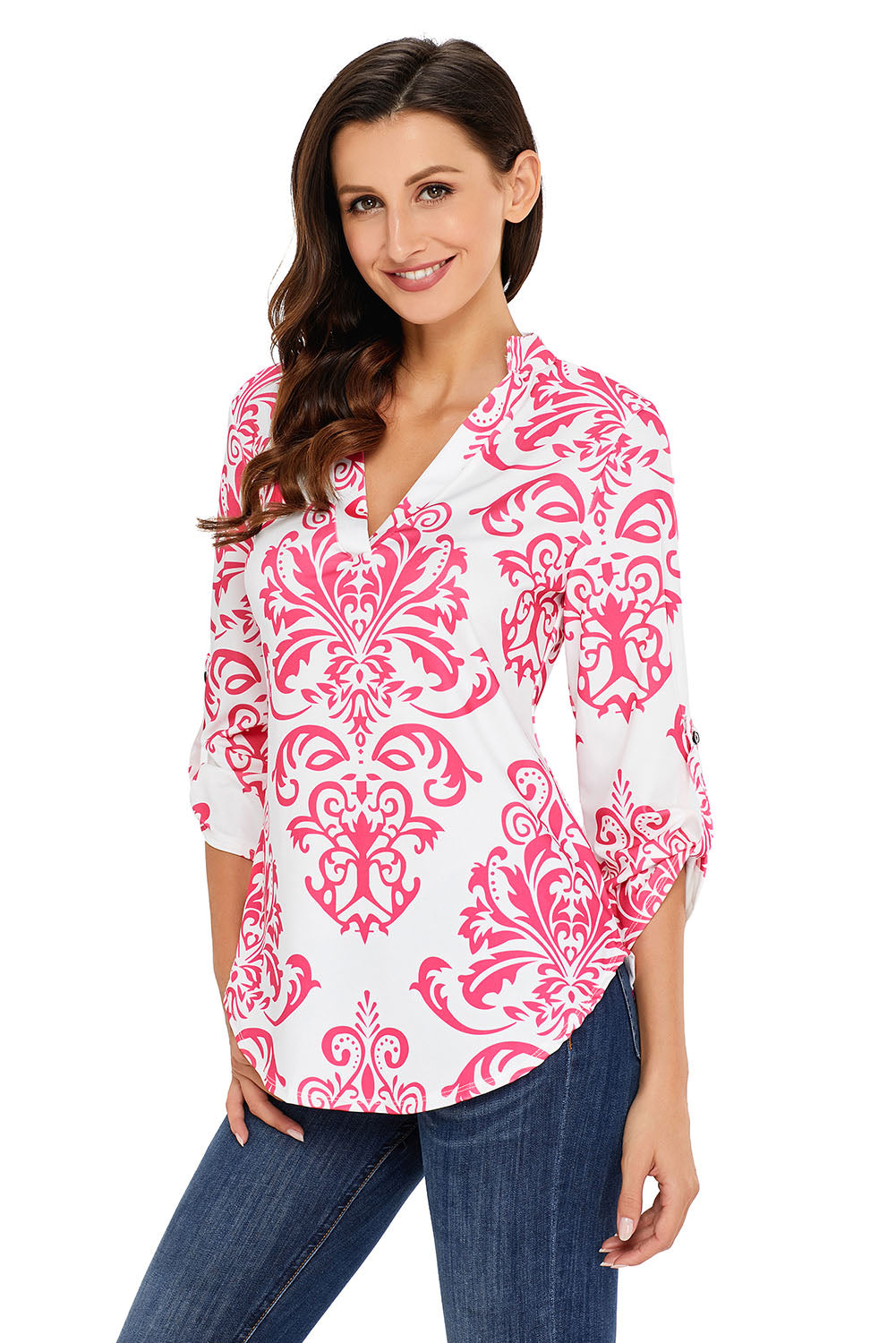 Her Fashion Pink Damask Print Slight Collar Stylish V Neck Blouse