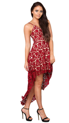 Her Fashion Red Hollow Lace Nude Illusion Hi-low Elegant Party Dress