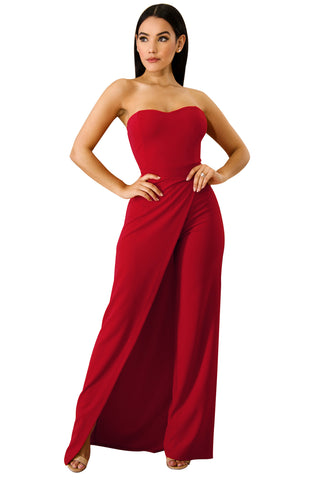 Her Fashion Red Irregular Split Leg Strapless Elegant Jumpsuit