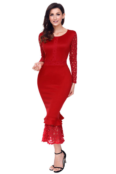 b2029878d1982 Her Fashion Red Lace Long Sleeve Mermaid Hem Bodycon Midi Dress ...