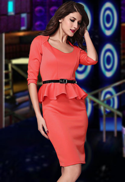 Her Fashion Red Long Sleeve Belted Peplum Midi Dress