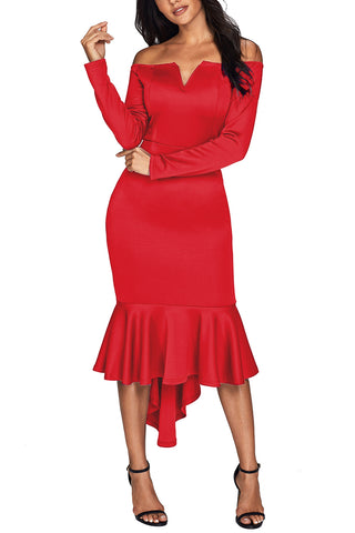 Her Fashion Red Off Shoulder Long Sleeve Mermaid Dress
