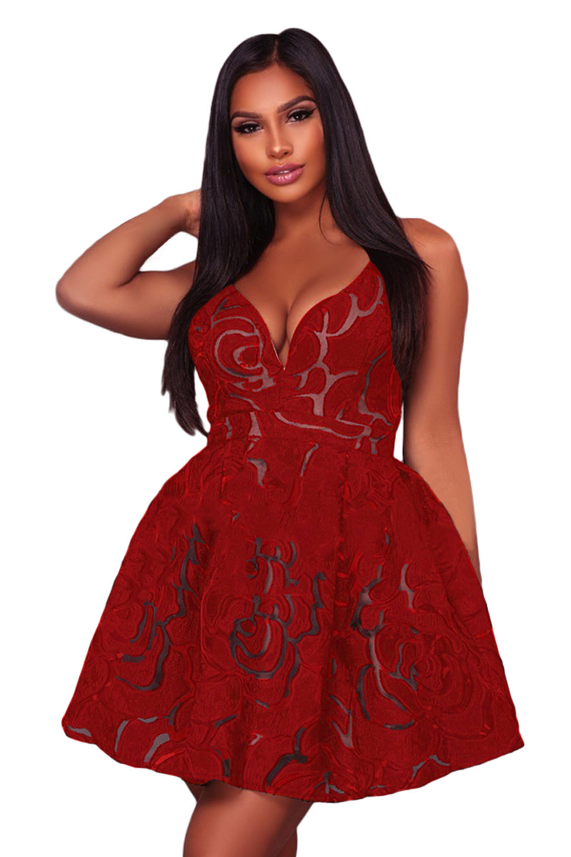Her Fashion Red Rose Lace Illusion Women Party Skater Dress