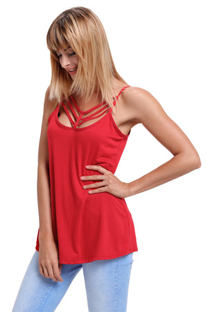 Her Fashion Red Spaghetti Strap Tank Top with Modern Neckline