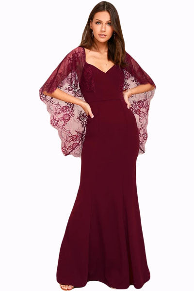 Her Fashion Red V Cut Back Lace Cape Sleeve Maxi Evening Dress