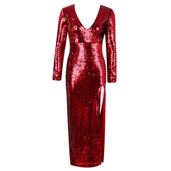Her Fashion Red VNeck Long Sleeve Maxi Sequins Side Slit Bodycon Dress