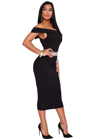 Her Fashion Rhinestone Waistband Black Off The Shoulder Midi Dress