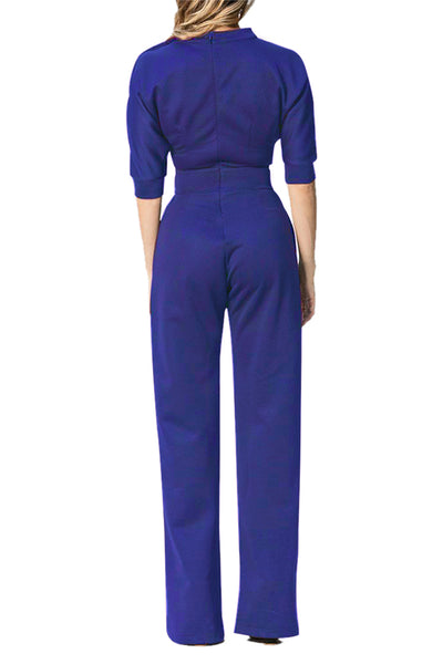 Her Fashion Romper Navy Blue Slanted One Shoulder Wide Leg Jumpsuit