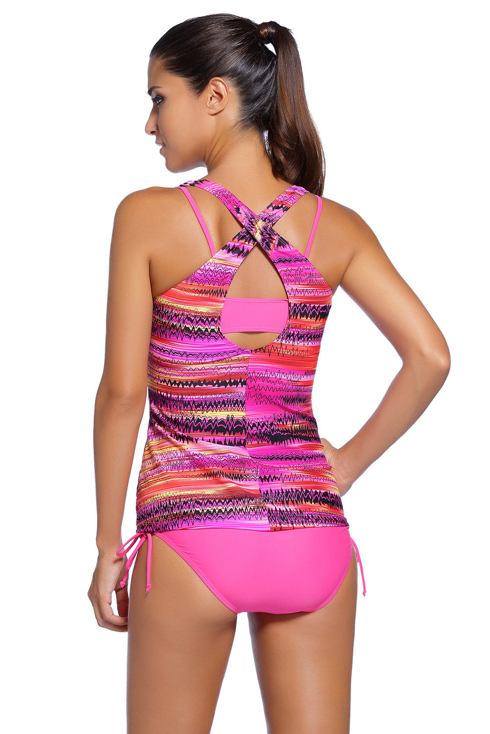 Her Ultra-Functional Rosy Bandeau Bikini Swimsuit Printed Vest Tunic