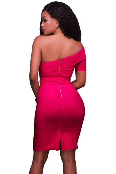 Her Fashion Rosy One Shoulder Elegant Bodycon Party Dress
