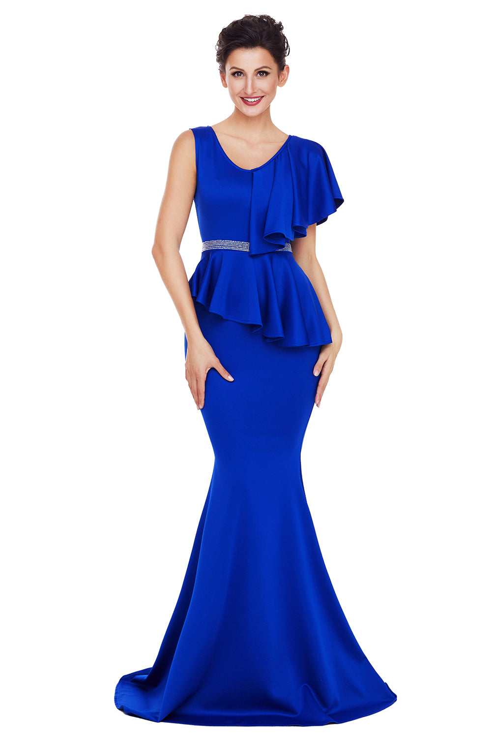 Her Fashion Royal Blue Ruffle Peplum Mermaid Prom Party Dress