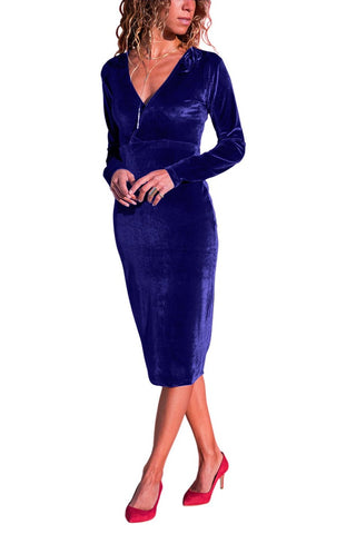 Her Fashion Royal Blue V Neck Sleek Velvet Women Trendy Midi Dress
