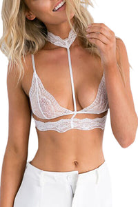Her Fashion Seductive White Choker Style Lace Bra Lingerie
