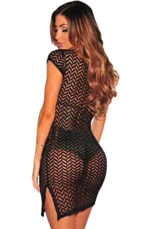 Her Fashion See Through Black V Neck Lace up Cover up Dress