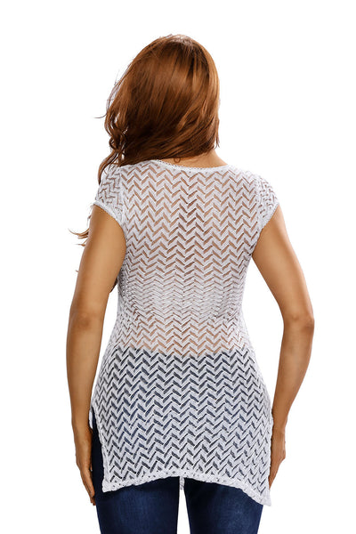 3fe3a5e1db4 Her Fashion See Through White V Neck Lace up Cover up Dress ...
