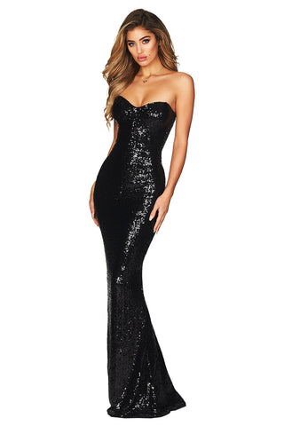Her Fashion Sequin Spellbound Strapless Gown Black Party Dress