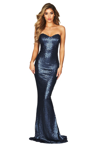 Her Fashion Sequin Spellbound Strapless Gown Blue Party Dress