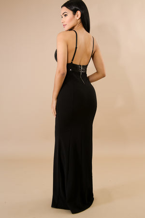 Her Fashion Sequins Sexy Long Maxi Black Evening Dress