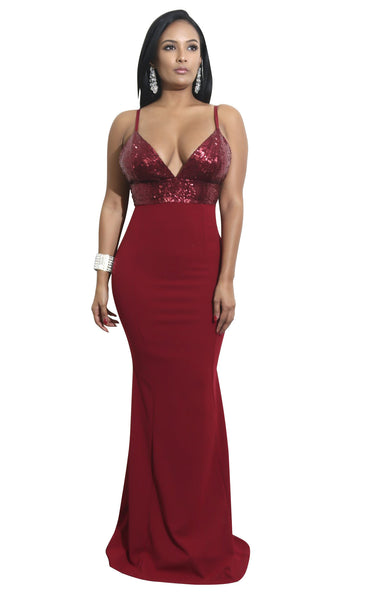 Her Fashion Sequins Sexy Long Maxi Dark Red Evening Dress