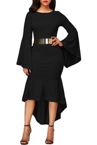Her Fashion Slinky Black Bell Sleeve Dip Hem Belted Women Dress