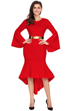 Her Fashion Slinky Red Bell Sleeve Dip Hem Belted Women Dress