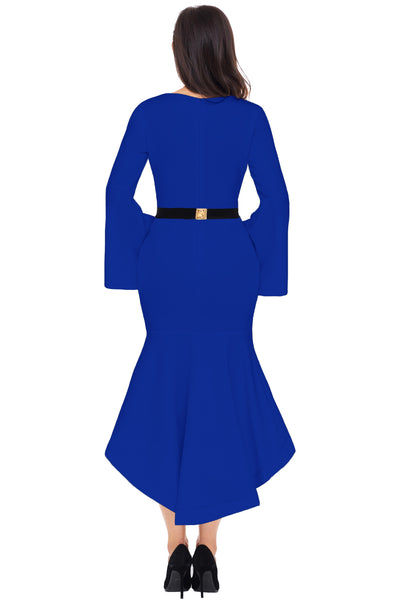Her Fashion Slinky Royal Blue Bell Sleeve Dip Hem Belted Women Dress