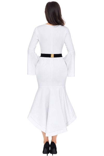 Her Fashion Slinky Olive White Bell Sleeve Dip Hem Belted Women Dress