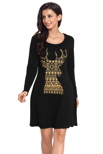 Her Fashion Snowflake Reindeer Black Christmas T-shirt Mini Dress