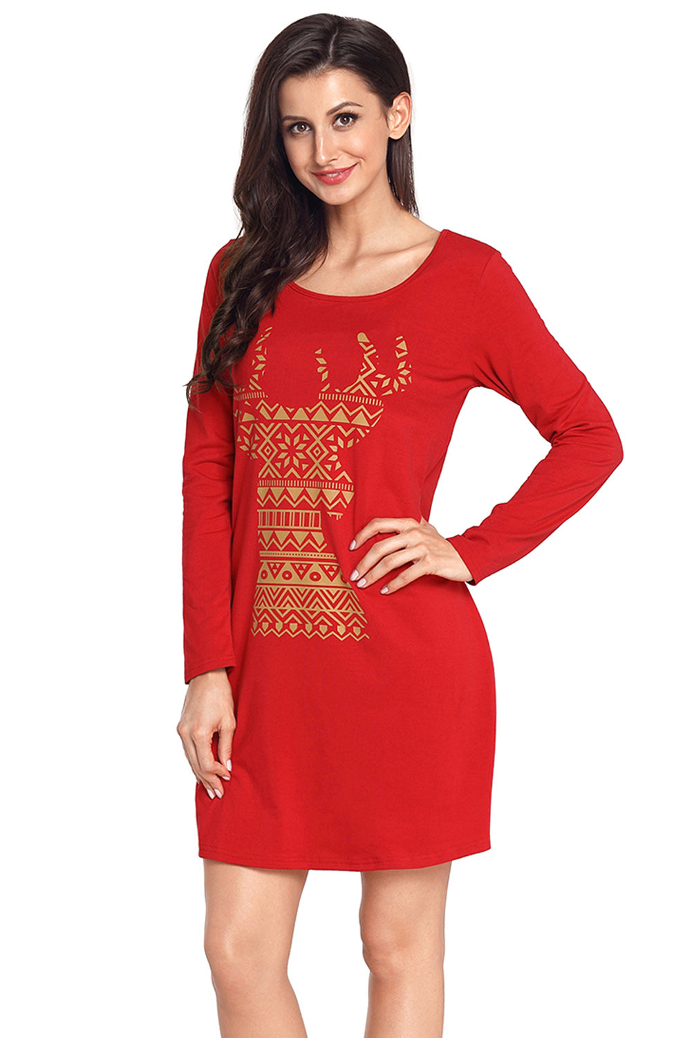 Her Fashion Snowflake Reindeer Grey Christmas T-shirt Mini Dress
