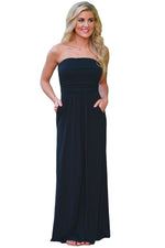 Her Fashion Solid Black Strapless Lovely Maxi Boho Dress