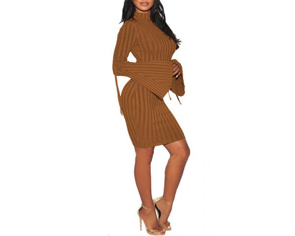 Her Fashion Strappy Bell Sleeves Sweater Red Elegant Bodycon Dress