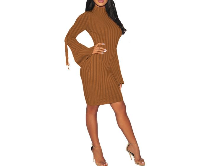 Her Fashion Strappy Bell Sleeves Sweater Brown Elegant Bodycon Dress