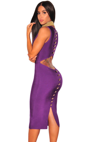Her Fashion Stunning Purple With Gold Detailed Buttons Bandage Dress