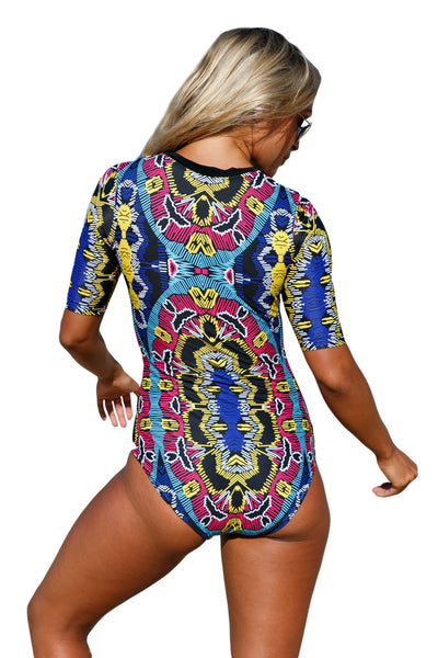 Her Fashion Red Blue Print Zip Front Half Sleeve One Piece Swimsuit