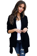 Her Fashion Green Sweater Black Comfy Cozy Pocketed Women Cardigan