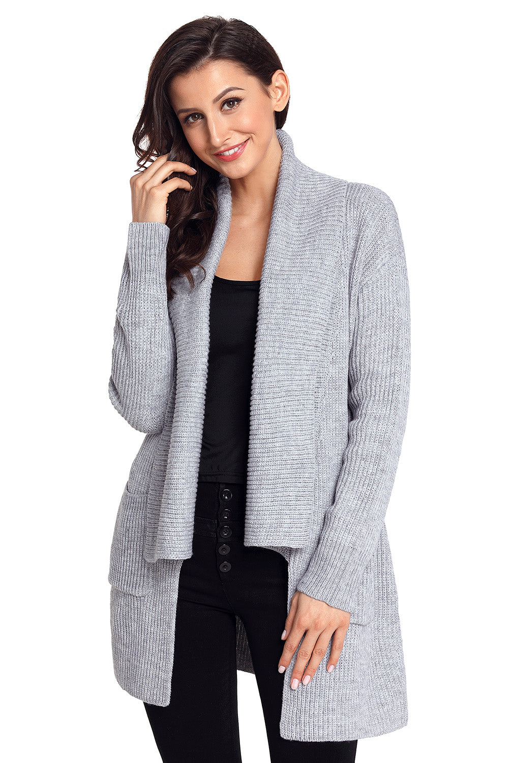Her Fashion Cream Sweater Black Comfy Cozy Pocketed Women Cardigan