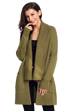 Her Fashion Grey Sweater Black Comfy Cozy Pocketed Women Cardigan