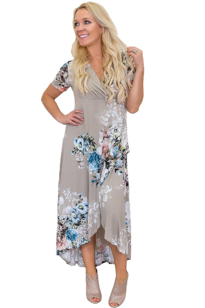 Her Fashion Taupe Floral Print High Low Wrap Modern Summer Dress