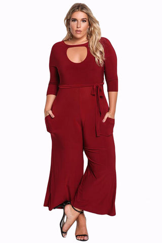 Her Fashion Timeless Plus Size Cut Out Wide Legged Red Jumpsuit