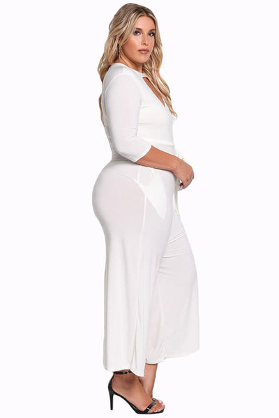 1e12f442185 Her Fashion Timeless Plus Size Cut Out Wide Legged White Jumpsuit ...